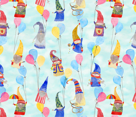 Floating Gnomes fabric by katebillingsley on Spoonflower - custom fabric