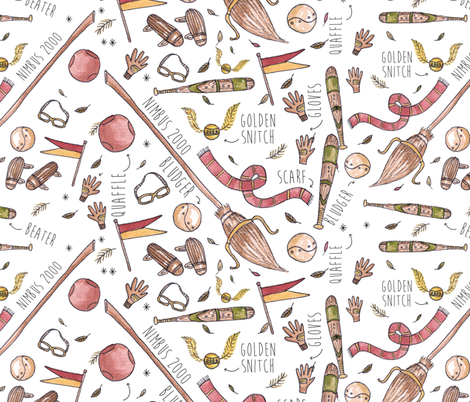Wizard and witch sports fabric by laurawrightstudio on Spoonflower - custom fabric
