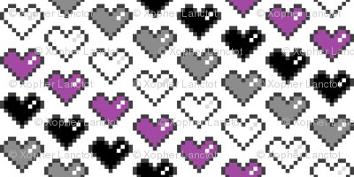 Pixel Heart (Purple, Black, Grey, White)