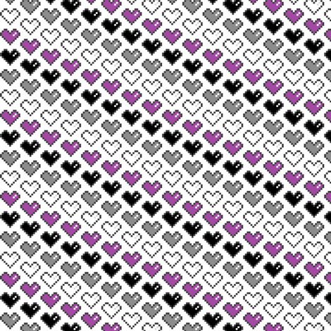 Pixel Heart (Purple, Black, Grey, White) fabric by abandonedwarehouse on Spoonflower - custom fabric