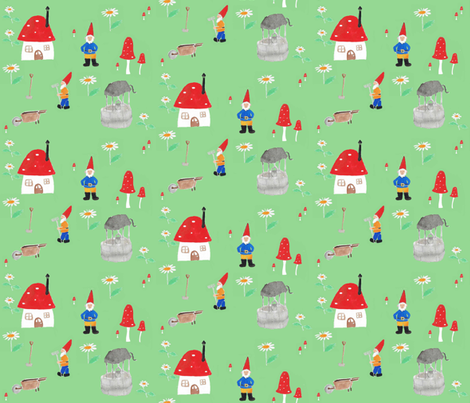 Gnomes_in_the_garden fabric by amanda_jane_textiles on Spoonflower - custom fabric