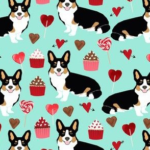 corgi tri colored fabric dogs dog valentiens fabric hearts love dogs fabric corgi valentines hearts