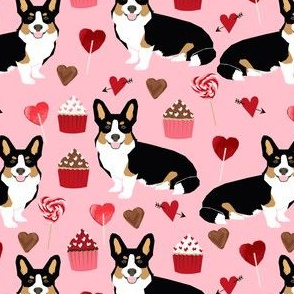 corgi tricolored valentines fabric valentines cupcakes love hearts pink cupcakes corgis