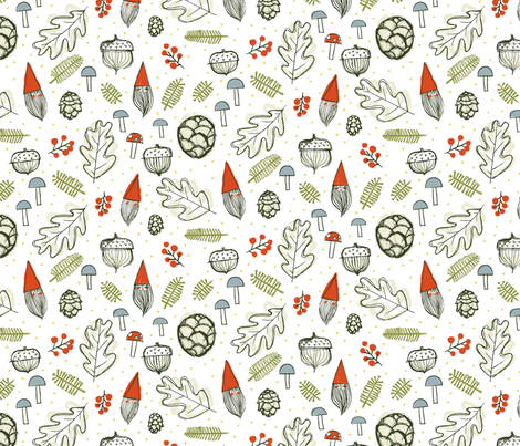 Forest Gnomes by Friztin fabric by friztin on Spoonflower - custom fabric