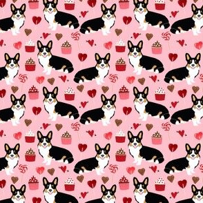corgi tricolored valentines love fabric cupcakes love heart fabric corgis dog design