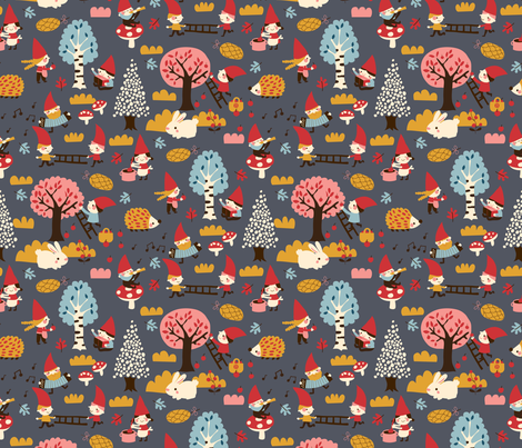 Busy gnomes fabric by bora on Spoonflower - custom fabric
