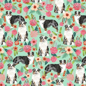 aussie dog floral fabric best blue merle dogs fabric australian shepherd dogs fabric aussie dog fabric