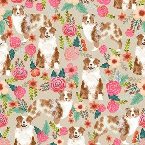 aussie dog floral fabric best red merle dogs fabric australian shepherd dogs fabric aussie dog fabric