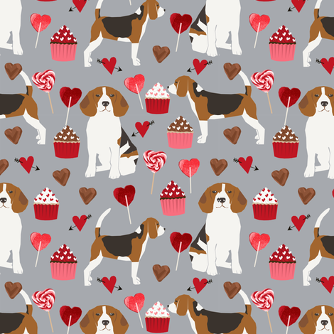 beagle valentines dog fabric love hearts valentines day beagles fabric dogs dog fabric by petfriendly on Spoonflower - custom fabric