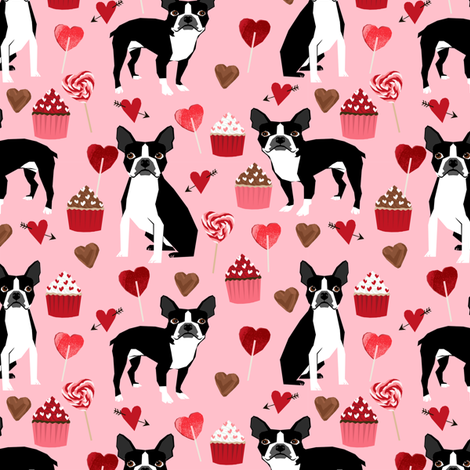 Boston Terrier Valentines Day Fabric Love Valentines Day Boston Terriers  Fabric Fabric By Petfriendly On Spoonflower