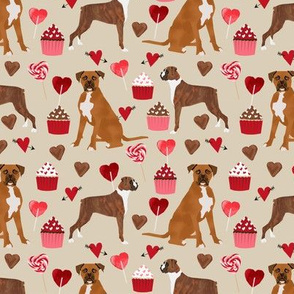 boxer dog valentines love fabric cute hearts cupcakes dog love fabric