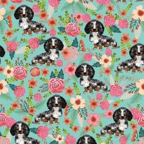 dapple dachshund fabric florals floral dog design doxie floral fabric
