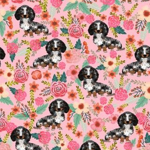 dapple dachshund fabric florals floral dog design doxie floral fabric