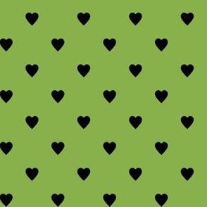 Black Hearts on Greenery Green