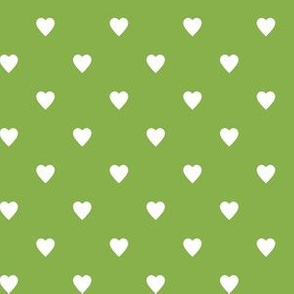 White Hearts on Greenery Green