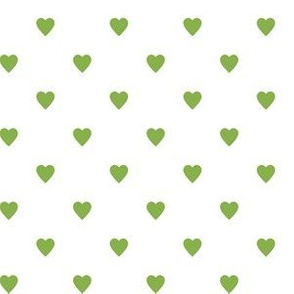 Greenery Green Hearts on White