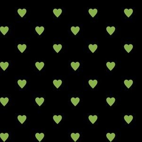Greenery Green Hearts on Black