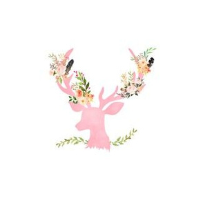 "3.5"" Pink Floral Deer - 1.5"" all around"