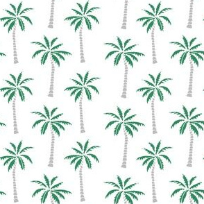 palm tree // green and grey summer fabric palms tropical palm print