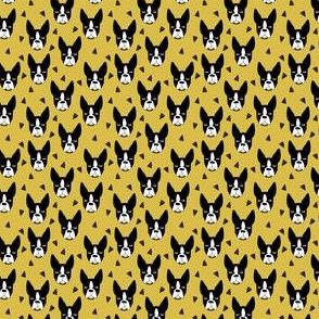 boston terrier // mustard tiny dog print micro print mini print small dog design