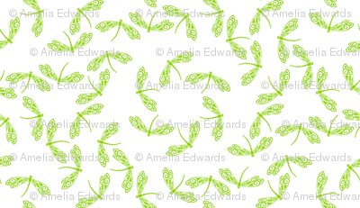 Tiny Green Dragonflies on White