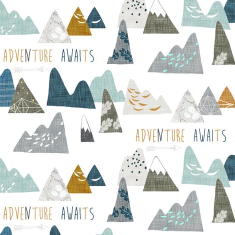 Adventure Awaits (SMALL) white  fabric by nouveau_bohemian on Spoonflower - custom fabric