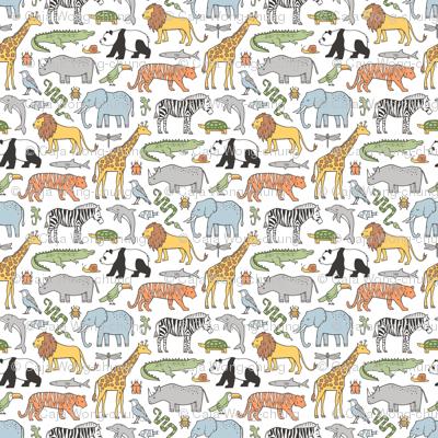Zoo Jungle Animals Doodle with Panda, Giraffe, Lion, Tiger, Elephant, Zebra,  Birds Tiny Small