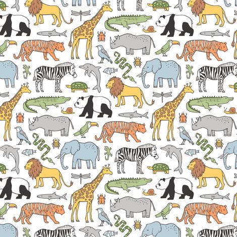 Zoo Jungle Animals Doodle with Panda, Giraffe, Lion, Tiger, Elephant, Zebra,  Birds Tiny Small fabric by caja_design on Spoonflower - custom fabric