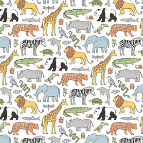 Zoo Jungle Animals Doodle with Panda, Giraffe, Lion, Tiger, Elephant, Zebra,  Birds Tiny Small