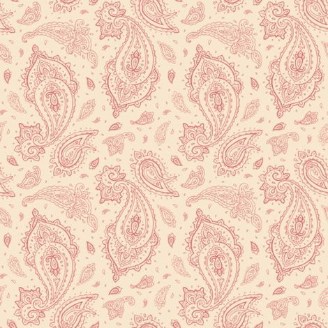 Coral and Champagne Paisley fabric by smallbatchboutique on Spoonflower - custom fabric