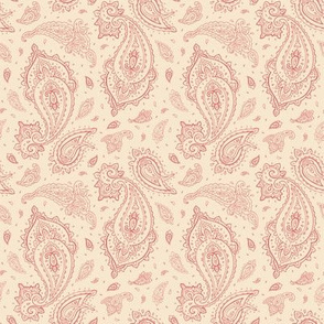 Coral and Champagne Paisley