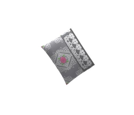 Crochet Doily w/Pink Flower