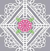 Crochet Doily w/ flower lg pillow panels