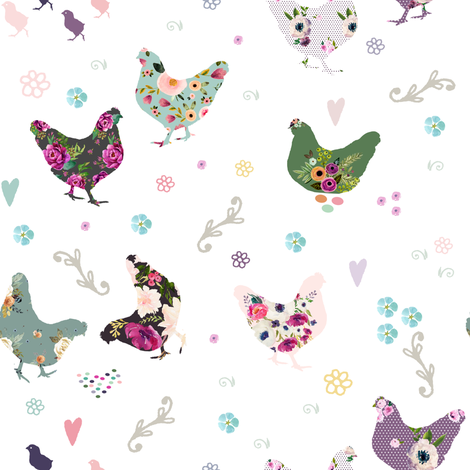 """Patchwork Hens 8"""" fabric by shopcabin on Spoonflower - custom fabric"""