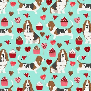 basset hounds valentines fabric cupcakes hearts love basset hounds valentines design - aqua
