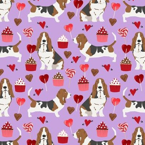 basset hounds valentines fabric cupcakes hearts love basset hounds valentines design - purple