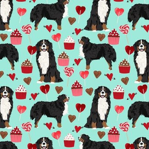 bernese mountain dog, dog fabric love valentines day design, love dogs - aqua