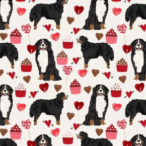 bernese mountain dog, dog fabric love valentines day design, love dogs - cream