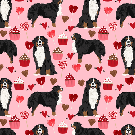 bernese mountain dog, dog fabric love valentines day design, love dogs - blossom fabric by petfriendly on Spoonflower - custom fabric