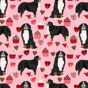 bernese mountain dog, dog fabric love valentines day design, love dogs - blossom