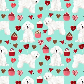 bichon frise valentines day - love valentines fabric hearts cupcakes fabric - aqua