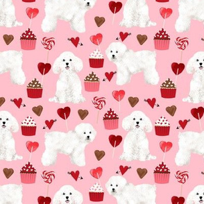 bichon frise valentines day - love valentines fabric hearts cupcakes fabric - blossom