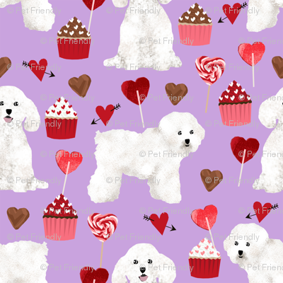 bichon frise valentines day - love valentines fabric hearts cupcakes fabric - lilac