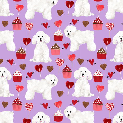bichon frise valentines day - love valentines fabric hearts cupcakes fabric - lilac fabric by petfriendly on Spoonflower - custom fabric