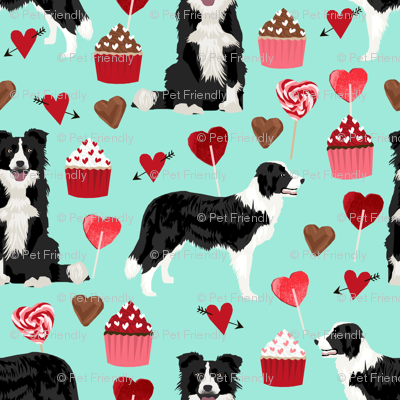 border collie valentines fabric - love hearts cupcakes valentines day fabric border collies - aqua