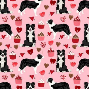 border collie valentines fabric - love hearts cupcakes valentines day fabric border collies - blossom