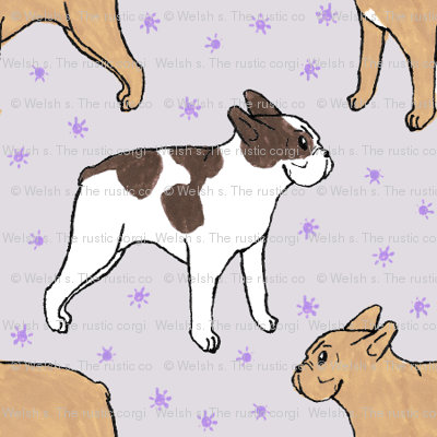 French Bulldog toons and stars - small purple