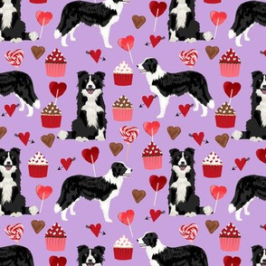 border collie valentines fabric - love hearts cupcakes valentines day fabric border collies - lilac