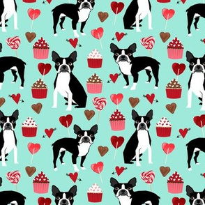 boston terrier valentines fabric - love hearts cupcakes valentines day fabric border collies - aqua