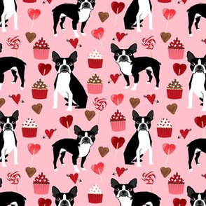 boston terrier valentines fabric - love hearts cupcakes valentines day fabric border collies - blossom